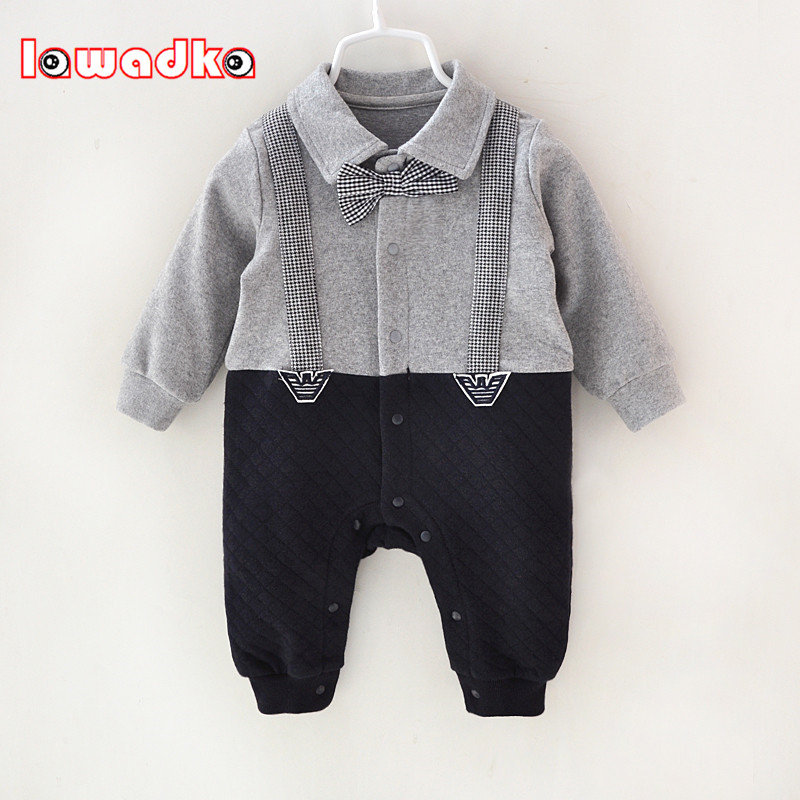 Newborn Baby Rompers Clothes Cotton Suits Infant Jumpsuit Outwear Gentleman Baby Boys Jumpsuit Clothing цена