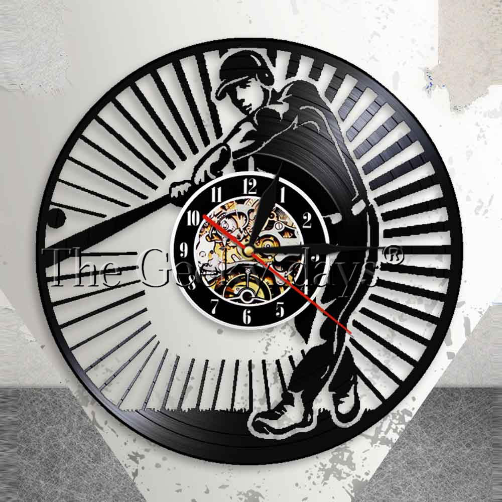 Baseball Player Silhouetter Wall Art Wall Clock Softball Vintage Vinyl Record Wall Clock Softball Club Room Decor Baseball Gift