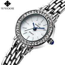 Top Brand Mujeres Reloj Pulsera de Cuarzo Vestido de Las Mujeres Relojes Moda Casual Plata Rhinestones Reloj de Pulsera Relogio Feminino