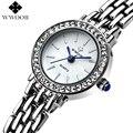 Top Mulheres Marca Pulseira Relógio de Quartzo As Mulheres Se Vestem Relógios Senhoras Moda Casual Prata Pedrinhas Relógio de Pulso Relogio feminino