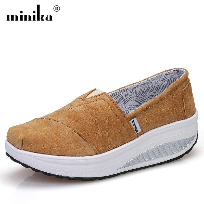 Lightweight Durable Faux Suede Casual Shoes Woman Flat Wedges Platform Shoes Swing women sneakers Tenis Feminino suede