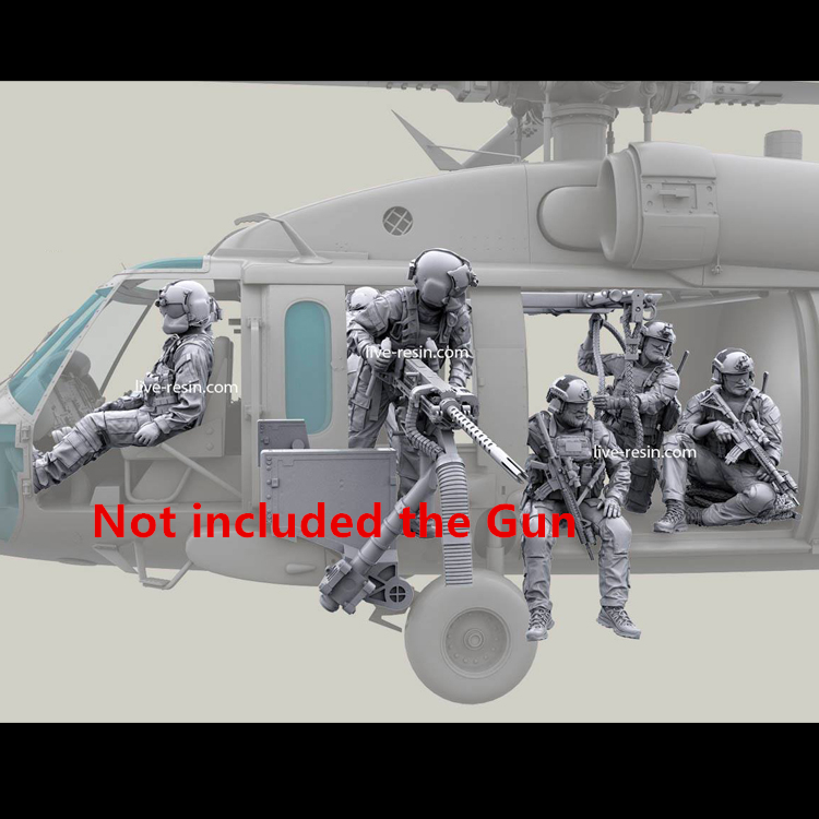 1/35 Resin Soldiers Figures Kit ,US Special Forces Modern, Helicopter Unpainted And Unassembled (Not Included The Gun)