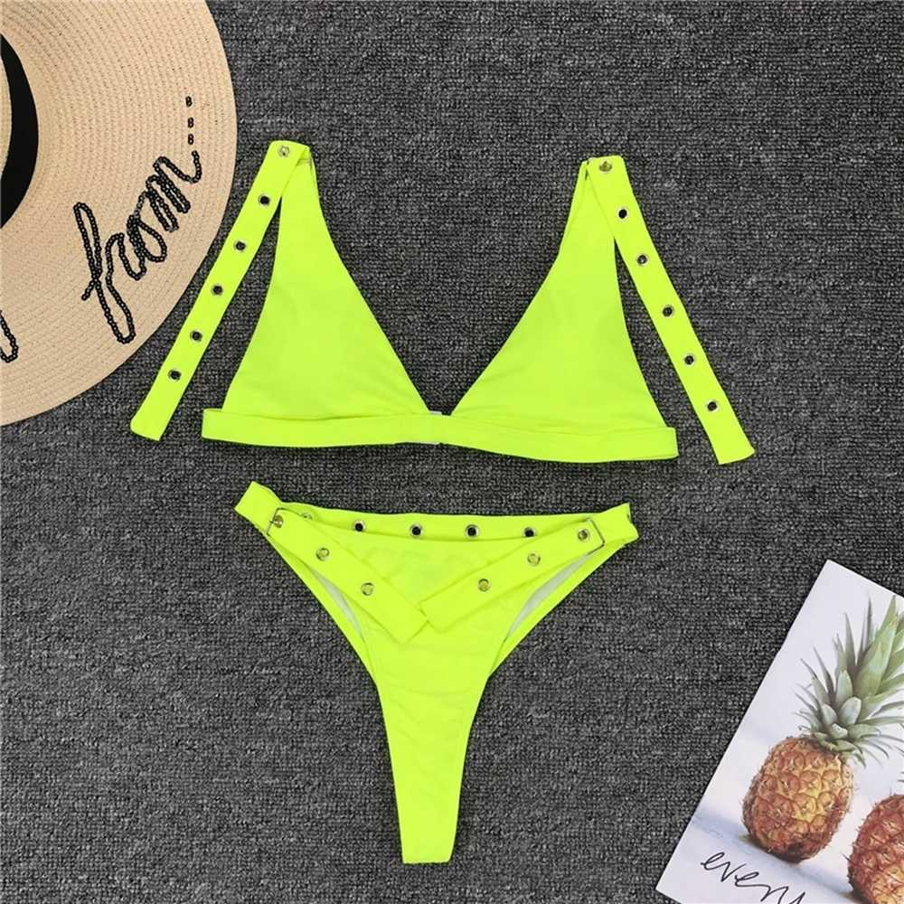 e04ec69660a ... Black high waist bikini thong Brazilian bikini high waisted swimsuit  eyelet swimwear women thong bikinis high