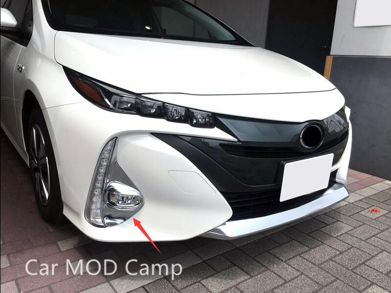 For Toyota Prius Prime PHV 2017 2018 ABS Chrome Front Fog Light Fog Lamp Cover Trim 2pcs Car Styling Accessories! стоимость