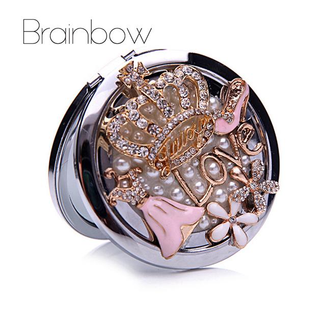 Crown Bolso Maquiagem Espelhos de Cristal Que Bling Strass Duplo-Sides Dobrado Stand Portátil Mirrors Compact Presente para Dia Dos Namorados