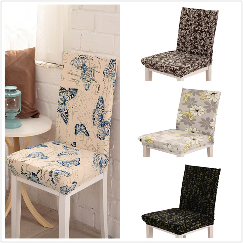 1 Piece Butterfly Pattern Chair Covers Jacquard Stretch For Dining Room Decoration Short Half