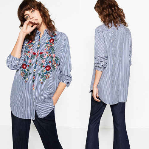Women Floral Embroidered Casual Blouse Autumn Long Sleeve Striped Shirt Tops