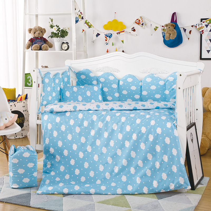 Hot Baby Crib Bedding Set 10pcs/Set Include Pillow Case+Bed Mattress+Quilt Cover With Filling Cotton Print Baby Bedding Set contrast striped print bedding set