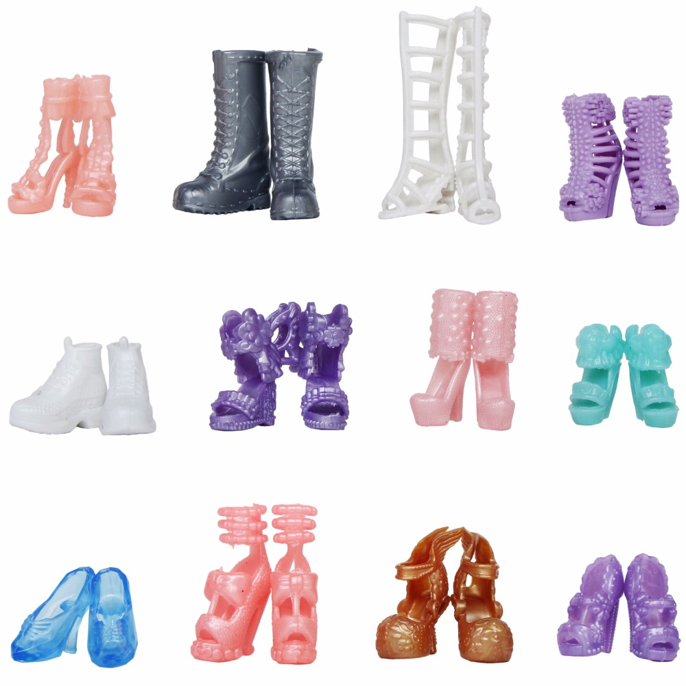 12 Pairs / Set Doll Shoes Fashion Cute Colorful Assorted High Heels Shoes Boots For Barbie Doll 12'' Accessories Kids Shoes