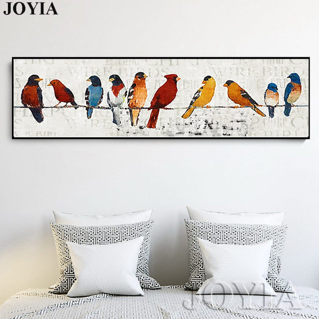 Abstract Bird Picture Classic Decor Sparrow Group Wire Little Birds Wall Art  Printed Canvas Oil Painting