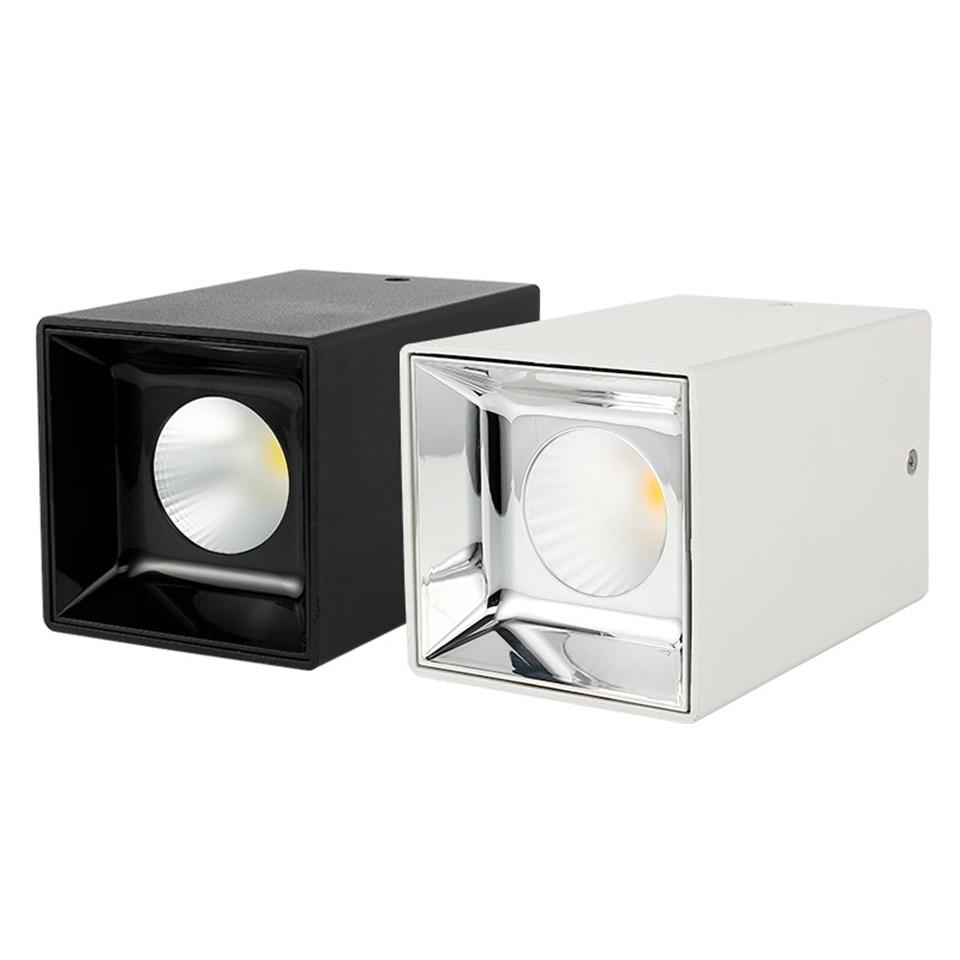 GD 1pc 15W 20W Square White/Black Surface Mount Downlight 85 265V LED COB Ceiling Spot Lamp Indoor Lighting Kitchen Bedroom
