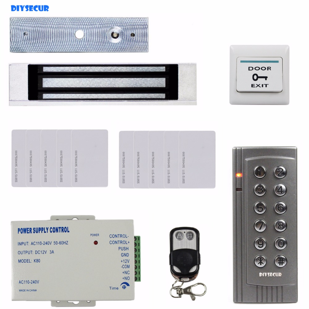 DIYSECUR 125KHz RFID Reader Password Keypad Access Control System Security Kit + 180KG Magnetic Lock Remote Control K4 diysecur 280kg magnetic lock 125khz rfid password keypad access control system security kit exit button k2