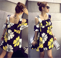 2016 summer Korean pregnant women suspenders lotus leaf strapless dress Bright hit color printing pregnant women dresses cloth