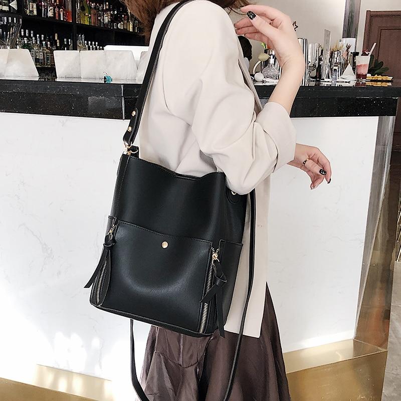 Two sets women handbaggs Crossbody Bag 2019 Fashion pu Leather Luxury Women Messenger Bag Ladies Girls Totes Bucket bag 49
