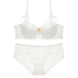 Image 2 - Varsbaby Women Half Cup Push Up Sexy Lace trim Plunge Plus Size 2 Bra Sets/Lot