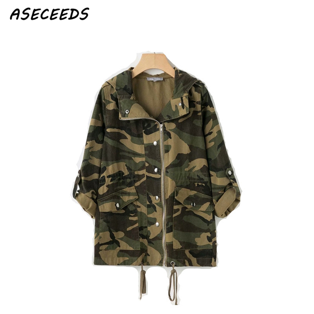 3bf5c7f8de9 Fall plus size military army green camouflage jacket women oversized jacket  coat women streetwear outerwear autumn 2018