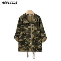 Fall plus size military army green camouflage jacket women oversized jacket coat women streetwear outerwear autumn 2018