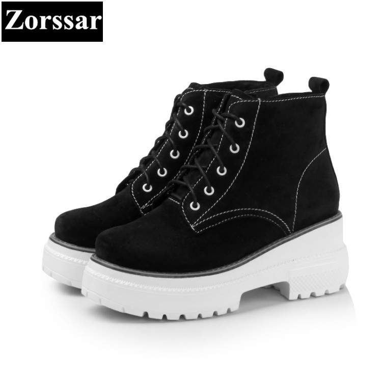 {Zorssar} 2018 New women ankle boots High heels Ladies platform Shoes Fashion Cow Suede Casual Vintage Womens Martin boots zorssar 2017 new winter ladies shoes fashion real leather women ankle boots high heels platform womens martin boots size 33 43