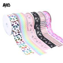AHB Cute Printed Grosgrain Ribbon 75mm Width 2Y Polyester Unicorn Bow Christmas New Year Ribbons For Craft