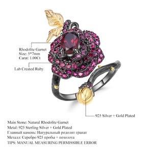 Image 5 - Gemmes BALLET en argent Sterling 925, 1,00 ct, bague ouverte en Rhodolite naturelle, fleur de Rose, Bijoux pour femmes, bague ajustable, fait à la main