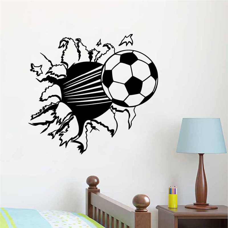 Creative Home Decor 3D Wall Stickers Football Broken Wall Pattern For Baby  Kids Living Room Bedroom Mural Art Wallpaper