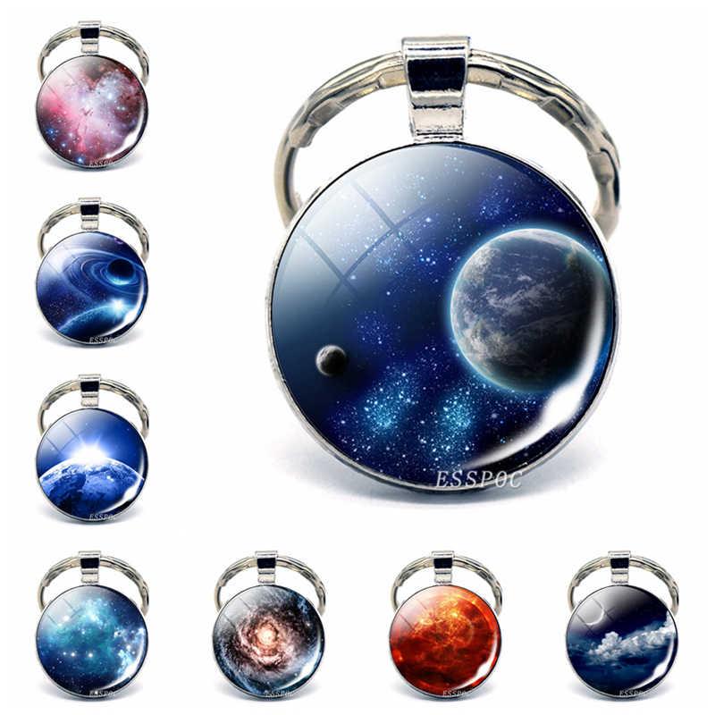 Năng Lượng Mặt Trời Hệ Thống Hành Tinh Vũ Trụ Mặt Dây Chuyền Bạc Kim Loại Móc Khóa Móc Khóa Móc Chìa Khóa Tinh Vân Trang Sức Sáng Tạo