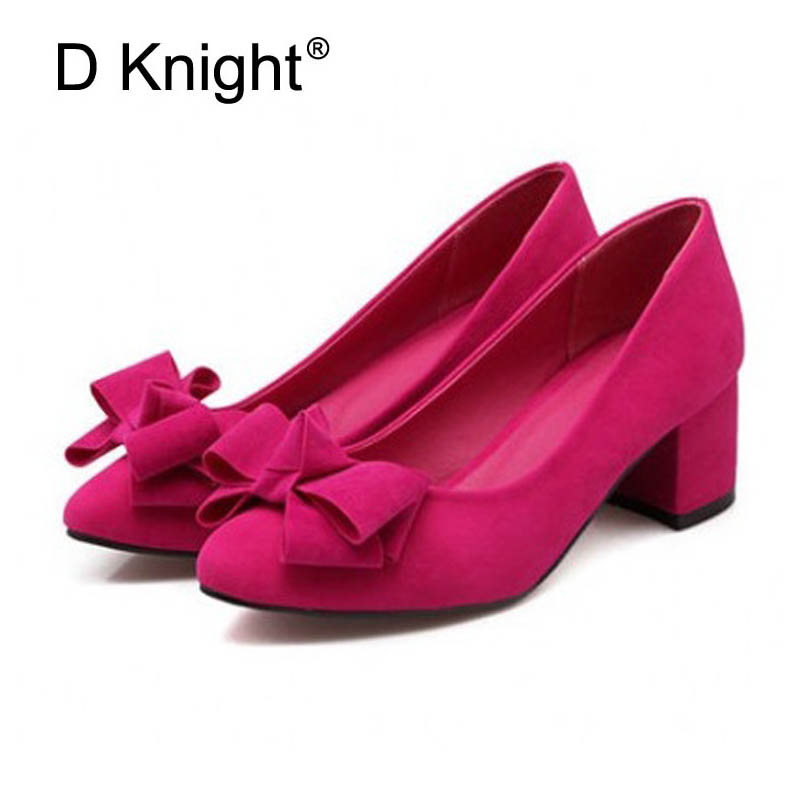 New Spring Autumn High Heels Women Shoes Basic Square Heel Pointed Toe Bow Casual Slip-On Nubuck Leather Women Pumps Size 31-43 lady glitter high fashion designer brand bow soft flock plus size 43 leisure pointed toe flats square heels single shoes slip on
