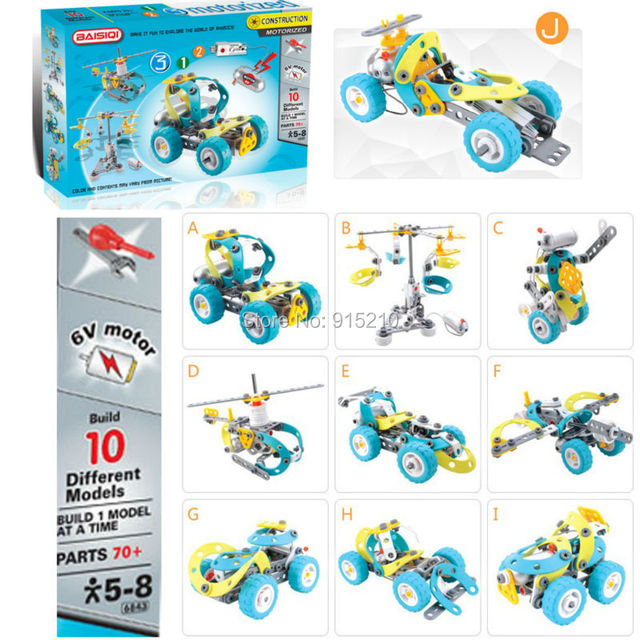 Моторизованный Строительные Машины Установлен-Строит 10 Различных Моделей, Развивающие игрушки DIY Электрический Строительные Блоки 100 + Частей