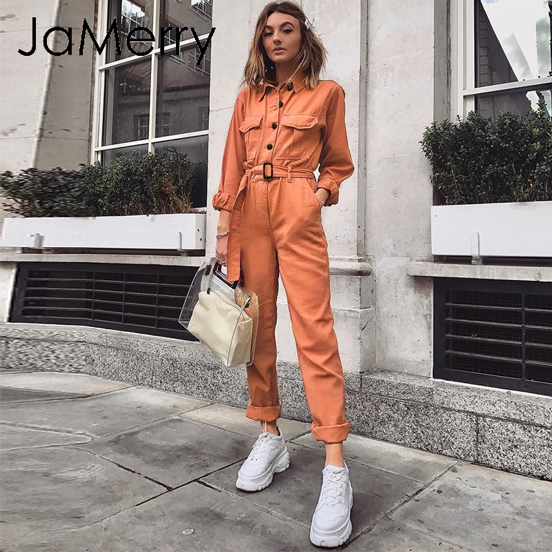 JaMerry Vintage casual cargo cotton women's   jumpsuit   Sashes orange pocket sports   jumpsuit   overall Solid autumn winter romper