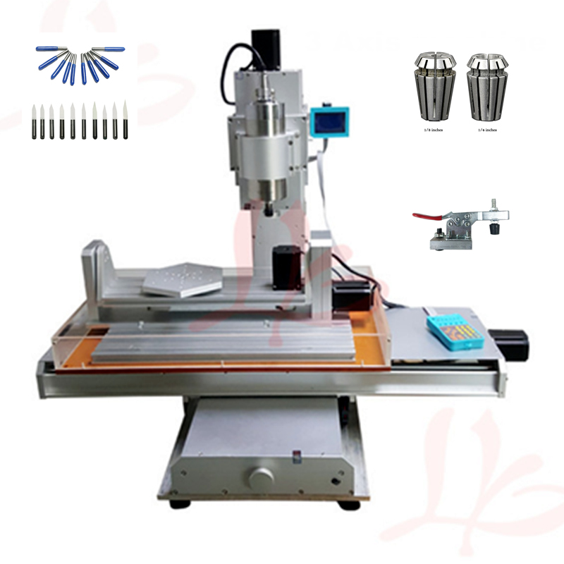 5 axis mini cnc milling engraving machine 3040 Column Type ball screw 1500W spindle wood router with free cutter er11 collet