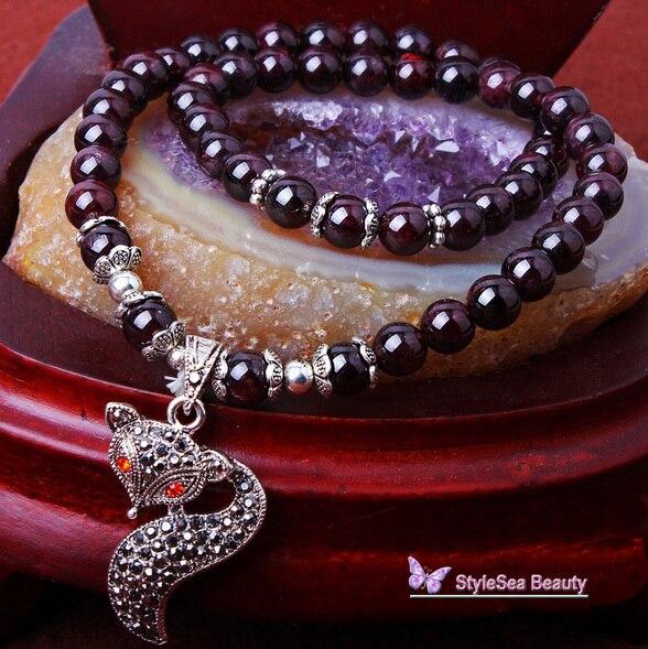 O ^ O 2017 Boutique Fox Ojos Rojos Granate Pulsera, 6mm Natural Perla Braclets, cristal Pulseras y Brazaletes para Las Mujeres Joyería de Los Hombres