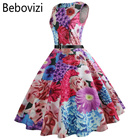 Bebovizi 2018 Bright Colorful Print Rockabilly Dress Female Summer Party Midi Dresses for Women Evening Beach Casual Clothing