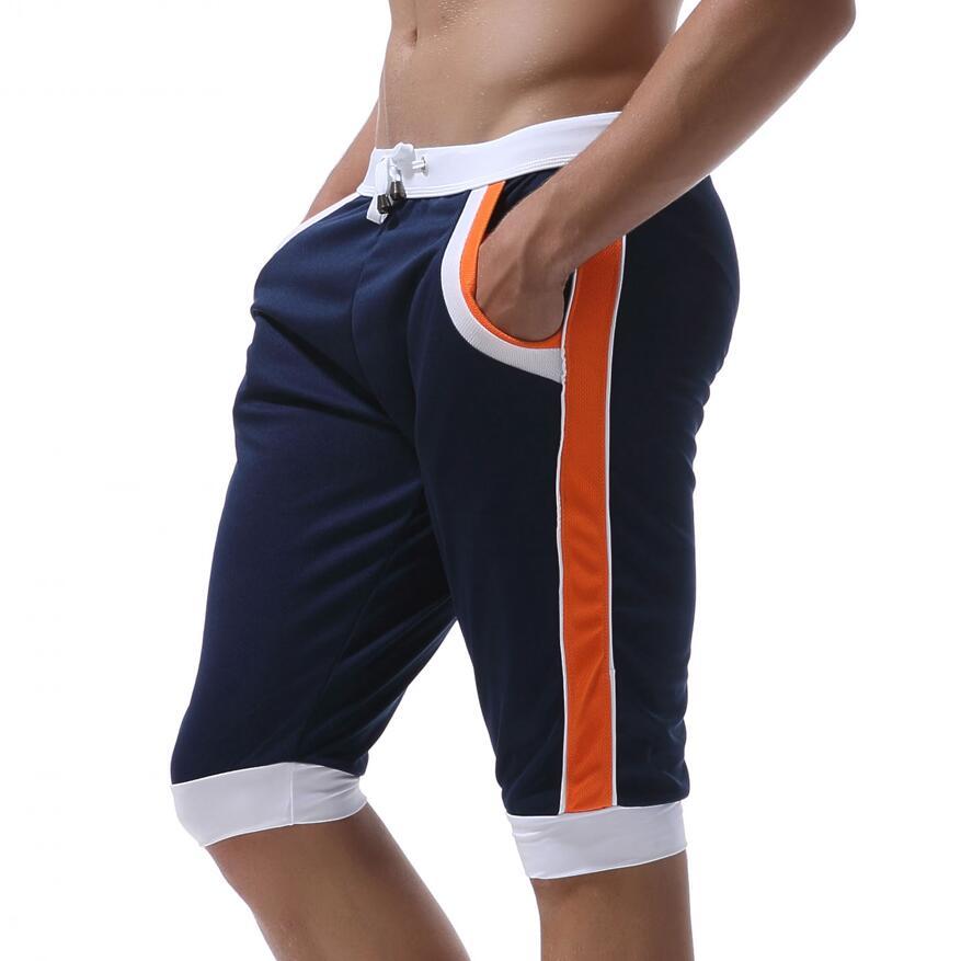 WJ Летние повседневные спортивные шорты, мужские брюки, эластичные Брендовые мужские капри, модные облегающие спортивные шорты длиной до колен, быстросохнущие шорты для тренировок - Цвет: Navy blue