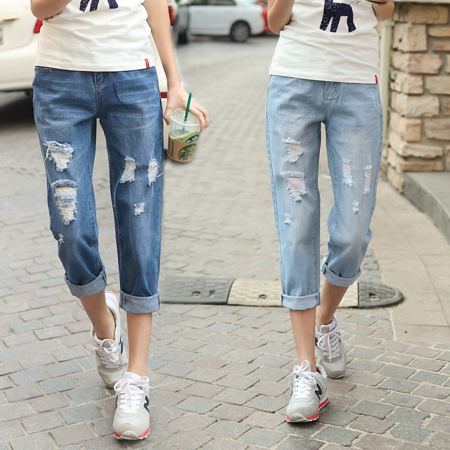 e82256c0770 2015 Women Fall Fashion High Waist Ripped Jeans Vintage Big Hole Denim  Pencil Pants American Apparel