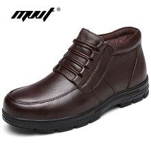 Mvvt plust Размеры Мужские зимние сапоги с мехом Утепленная одежда натуральная кожа Мужские ботинки зимние ботинки на платформе Водонепроницаемый ботильоны