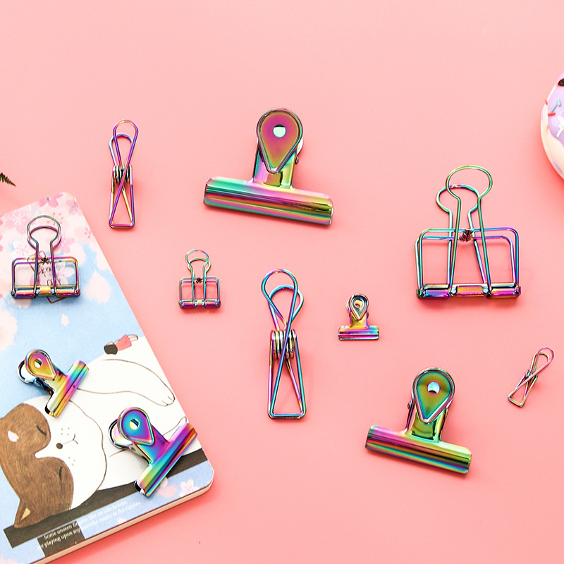 Colorful Water Drop Fish Tail Clip Hollow Out Metal Binder Clips Notes Letter Paper Clip Office Supplies FOD
