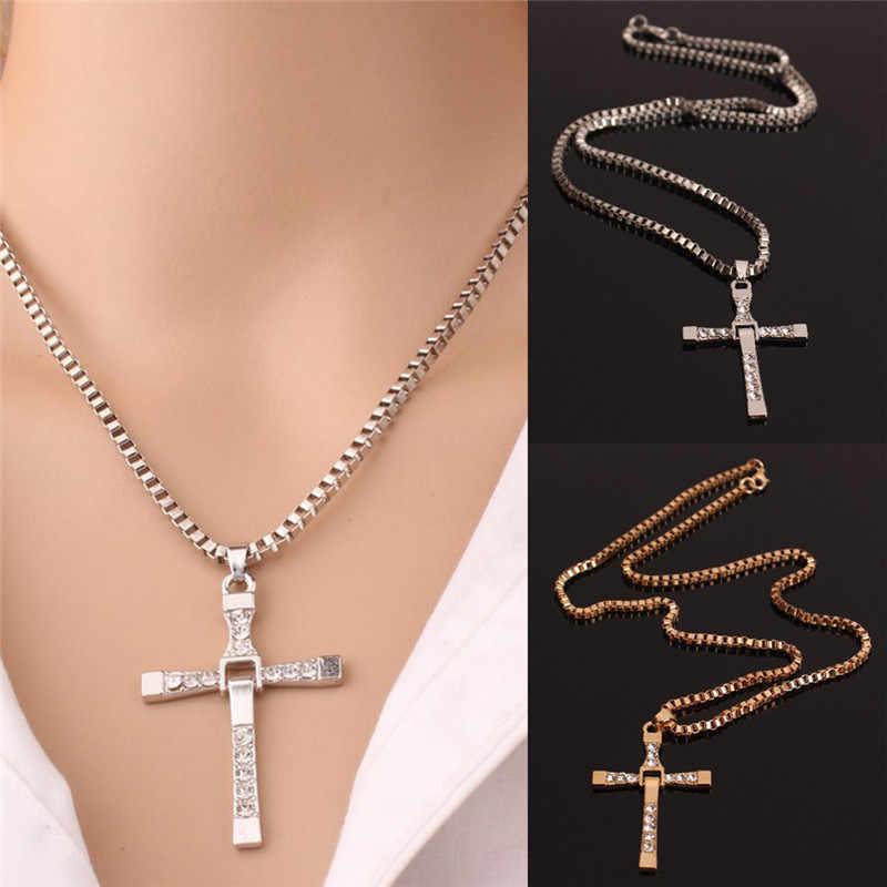 JETTINGBUY klasyczny Rhinestone wisiorek Sliver złoty kolor krzyż naszyjniki Choker prezenty prezent na Boże Narodzenie długi naszyjnik mężczyzn biżuteria