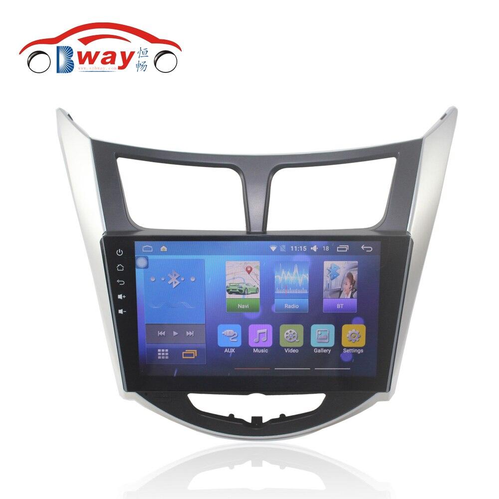 Bway 9 2 din Car radio for Hyundai Verna Solaris Accent Quadcore Android 6 0 1