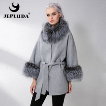 JELUDA Hot Sale Cashmere Coat Women Sleeve Collar With Natural Real Fox
