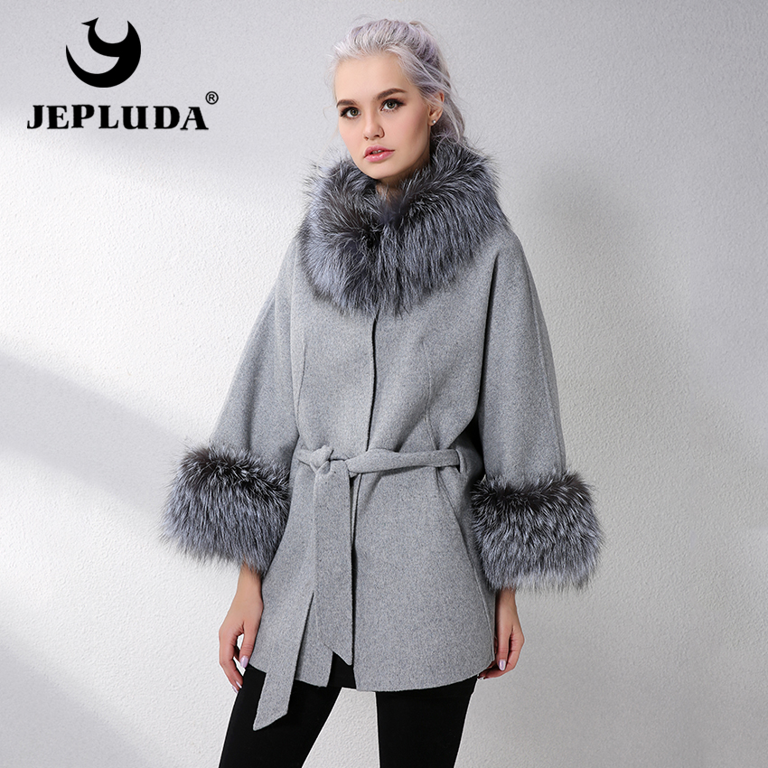 JELUDA Hot Sale Cashmere Coat Women Sleeve Collar With Natural Real Fox Fur Genuine Leather Jacket Women Overcoat Real Fur Coat