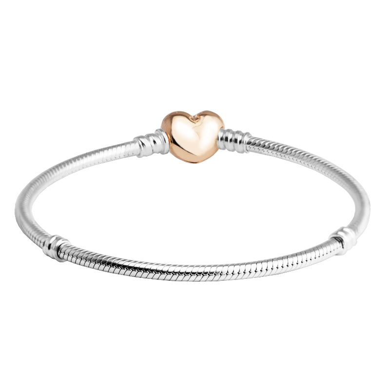 Genuine 925 Sterling-Silver-Jewelry Bracelets for Women DIY Jewelry MOMENTS Sterling Silver Bracelet with Rose Heart Clasp