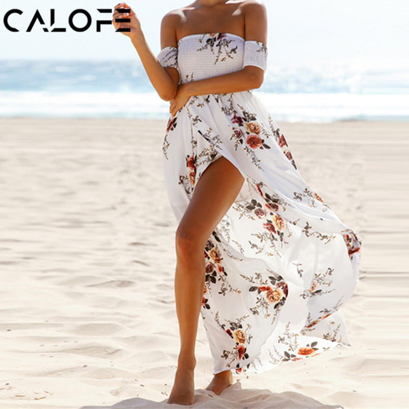 CALOFE Strapless Boho Print Dress Women Summer Sexy Off Shoulder Long Maxi Beach Dresses Sundress Plus Size Vestidos 5XL 3XL