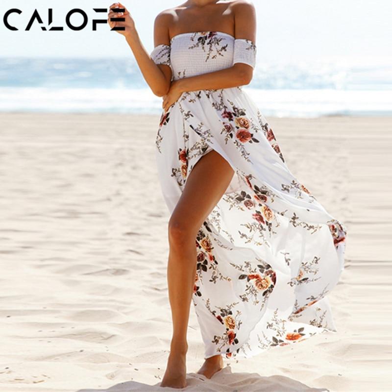 CALOFE Strapless Boho Print Dress Women Summer Sexy Off Shoulder Long Maxi Beach Dresses Sundress Plus Size Vestidos 5XL 3XL