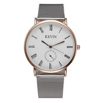 100 unids/lote kevin-3068 nuevo superventas de malla de mira una simple esfera carcasa de oro rosa reloj casual para unisex abrigo al por mayor reloj de cuarzo