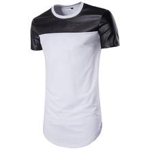 Men's Summer Hipster Hip Hop Short Sleeve Leather Patchwork Longline T Shirts O Neck Extended Tees Designer Brand Urban Clothing