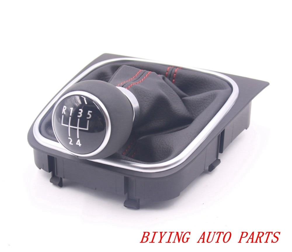 OEM Genuine Shift Knob Leather Red Line Manual Transmission MT Gear Cover for VW Golf 6 MK6 Jetta 5 MK5 1KD 711 113 A