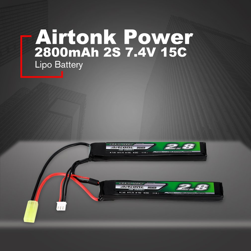 Airtonk Power 7.4V <font><b>2800mAh</b></font> 15C <font><b>2S</b></font> /3S 11.1V 15CLipo Battery Mini Tamiya Plug Rechargeable Double Cell for Model Gun Toy Boy Gift image