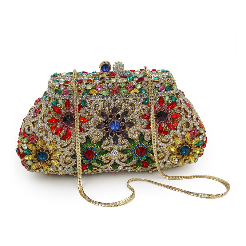 Women Luxury Rhinestone Clutch Evening Handbag Ladies Crystal Wedding Purses Dinner Party Bag Gold women luxury rhinestone clutch evening handbag ladies crystal wedding purses dinner party bag bird flower purse zh a0296