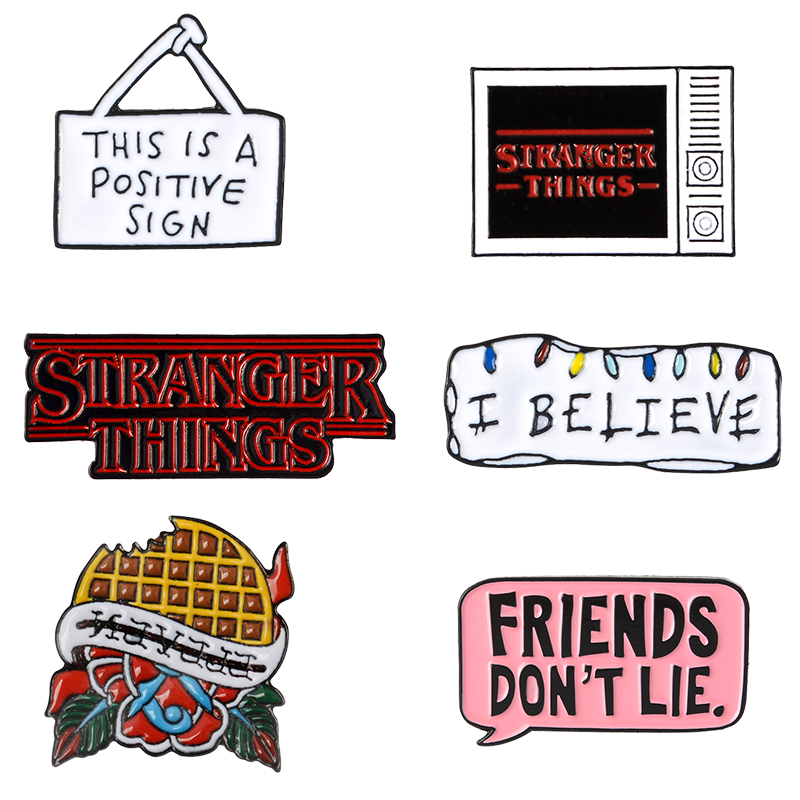 Stranger Things TV show Enamel Brooch Pin Eleven Waffles Don't Lie Friends I believe Badges <font><b>Denim</b></font> <font><b>Jackets</b></font> Jeans Pins Jewelry image
