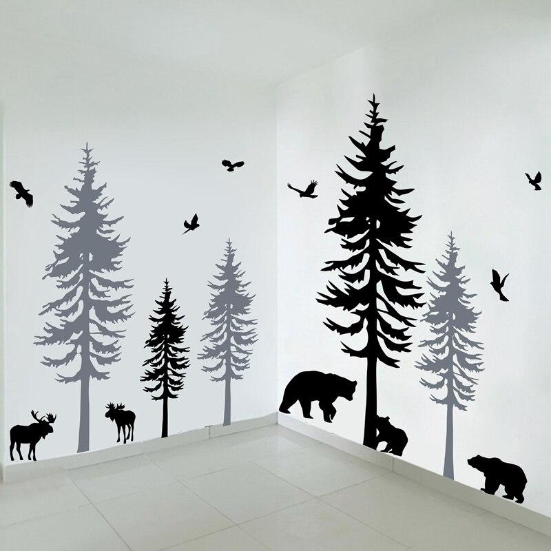 Énorme arbre de pin avec des oiseaux stickers muraux bébé chambre vinyle autocollant, pépinière mur Art Nature décor bois forêt grand mur autocollant